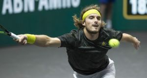 Stefanos Tsitsipas in action against Hubert Hurkacz on the fourth day of the ABN AMRO ATP World Tennis Tournament match in Rotterdam. Photograph: Getty Images