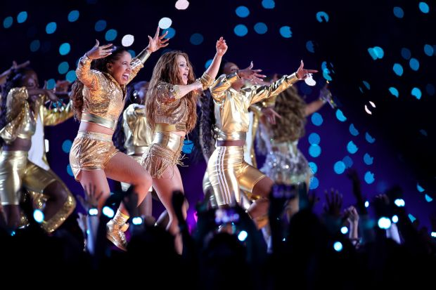 Singers Shakira and Jennifer Lopez perform during the Pepsi Super Bowl live half-time show at Hard Rock Stadium. Photograph: Maddie Meyer/Getty Images