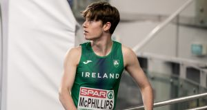 Ireland's Cian McPhillips after finishing second in the Men's 800 metres heats at the 2021 European Athletics Indoor Championships in Torun, Poland on Friday. Photograph: Morgan Treacy/Inpho