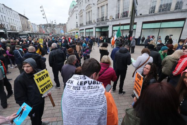 People take part in protest in Cork on Saturday. Photograph: Niall Carson/PA Wire