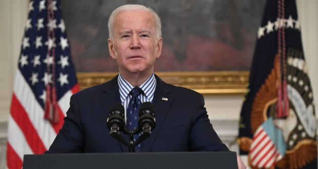 US president Joe Biden speaks on the passage of the American Rescue Plan from  the White House in Washington, DC, on March 6th. Photograph:  Saul Loeb/AFP via Getty