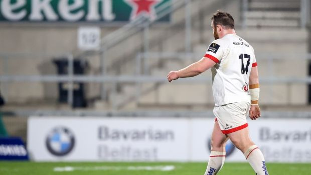 Andrew Warwick was sent off during Ulster's defeat to Leinster. Photograph: James Crombie/Inpho