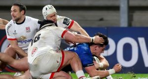 Dan Sheehan forces his way over for a try against Ulster. Photograph: James Crombie/Inpho