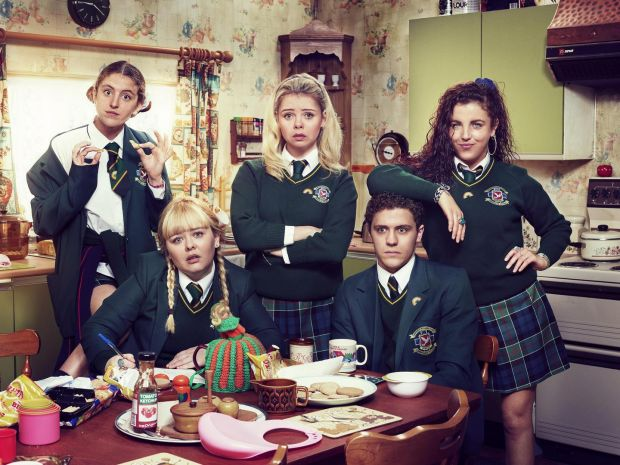 Derry Girls: Nicola Coughlan (bottom left) with Louise Harland, Saoirse-Monica Jackson, Dylan Llewellyn and Jamie-Lee O'Donnell