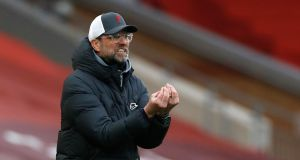 Liverpool manager Jurgen Klopp reacts during the 1-0 Premier League defeat to Fulham at Anfield which extended the club's extraordinary losing run at home to six games. Photograph: Phil Noble/PA Wire