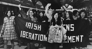 Women on the platform of Connolly Station, Dublin in 1971 prior to bording the Belfast train to buy contraceptives, which were then illegal in the Republic. Nell McCafferty is pictured second left. Photograph: The Irish Times