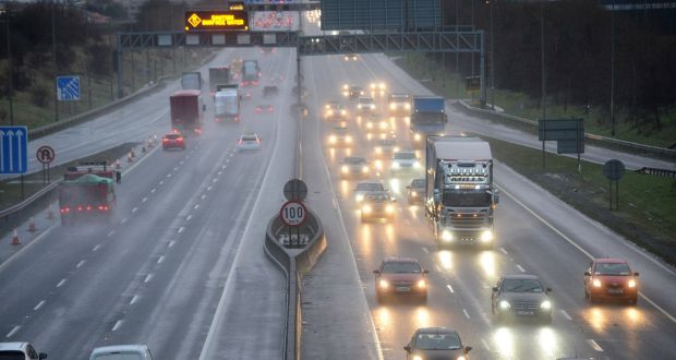 Traffic on the M50 during lockdown in January. File photograph: Dara Mac Dónaill
