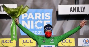 Sam Bennett retains the green jersey in the Paris-Nice. Photograph: Anne-Christine Poujoulat/Getty/AFP