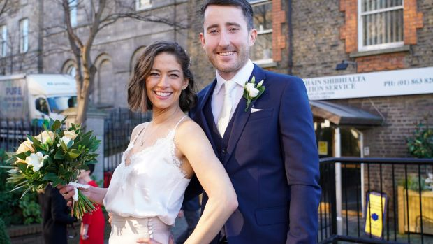 Melanie Reis and Patrick Holohan on their wedding day at the Dublin Registry Office. Photograh: Enda O'Dowd