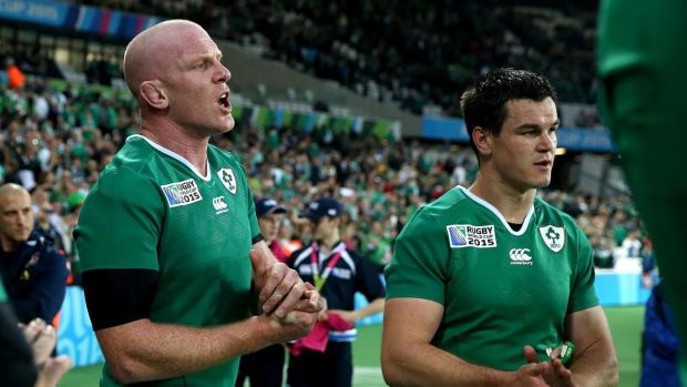 Paul O'Connell and Johnny Sexton during Ireland's 2015 Rugby World Cup game against Italy at the Olympic Stadium in London. Photograph: Dan Sheridan/Inpho