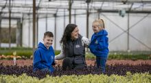 Niamh Tully of Tully Nurseries with her children Caoimhe and Harvey.  Bord Bia research shows that consumer spend on gardening reached its highest-ever level at €1.2 billion in 2020. Photograph: Chris Bellew/Fennell