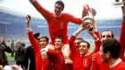 Liverpool celebrate winning the 1965 FA Cup in their famous all red kit. File photograph: PA