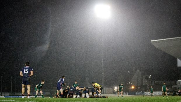 Rain falls at The Sportsground during Connacht's Pro14 clash with Edinburgh. Photograph: James Crombie/Inpho