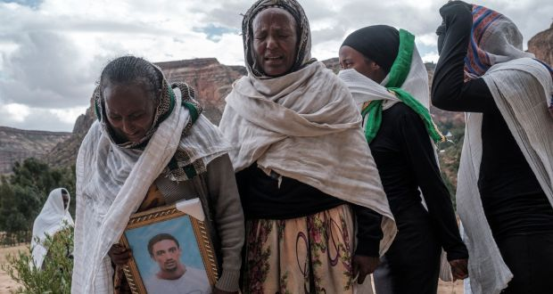 People gather to mourn the victims of a massacre allegedly perpetrated by Eritrean Soldiers in the village of Dengolat, North of Mekele, the capital of Tigray on February 26th. Photograph: Eduardo Soteras/ AFP via Getty Images