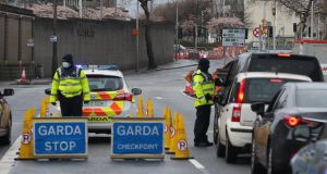 A Garda checkpoint  on Victoria Quay, Dublin, this week. Photograph: Stephen Collins/Collins Photos