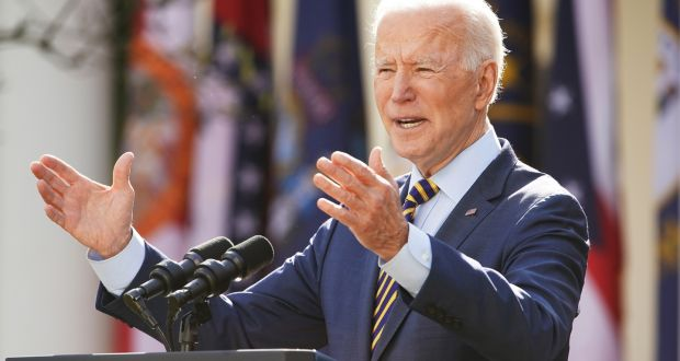 US President Joe Biden  comments  on the American Rescue Plan at the Rose Garden of the White House in Washington DC, earlier this month.  Photograph: Jim Lo Scalzo/Pool/EPA