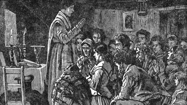 Illustration of a priest conducting Mass in secret during the penal era in Ireland.