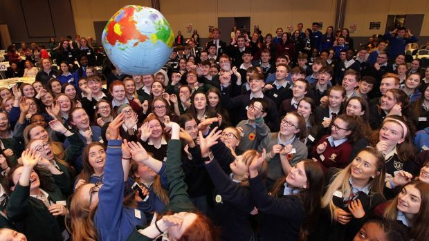 Second-level students at the fifth WorldWise Global Schools Annual Conference in Galway in 2018. A focus on kindness, empathy and happiness is a valuable strategy in policy-making on climate change. File photograph: Mark Stedman
