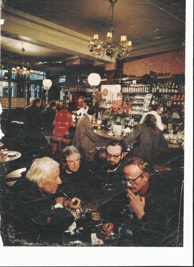 Mary Lavin in Neary's with Austin Clarke, Thomas Kinsella and Tom Kilroy, first published in Travel & Leisure Magazine's Autumn 1972 edition accompanying an article by Lawrence Durrell. Photograph: Arnold Newman