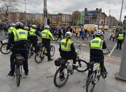 STREET PROTEST: A large group of gardaí monitored an anti-lockdown weekend protest that started at the Wellington Monument at the Phoenix Park in Dublin and moved on to the GPO on O'Connell Street, mirroring similar protests in other cities around the world. Photograph: Alan Betson