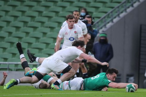 TRYING HARD: Ireland's Jack Conan scores a try during the Six Nations international rugby union match between Ireland and England at the Aviva Stadium in Dublin. Photograph: Niall Carson/AFP/Getty