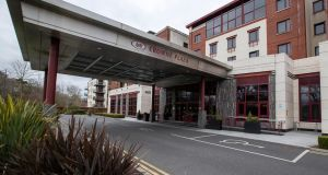 The Dublin Airport Crowne Plaza Hotel, one of several hotels which are be used for mandatory Covid-19 quarantine for travellers from certain countries. Photograph: Colin Keegan/Collins Dublin
