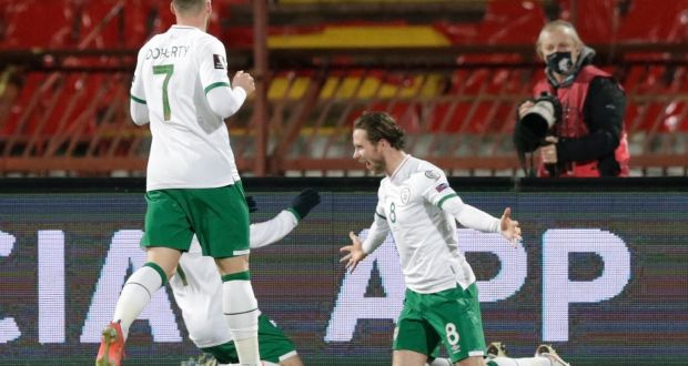 Ireland's Alan Browne celebrates scoring the opener in their World Cup qualifier against Serbia. Photo: Andrej Cukic/Inpho