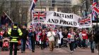 Loyalist protesters converge on Belfast City Hall in 2013 over removal of the union flag from the the building. File photograph: PA