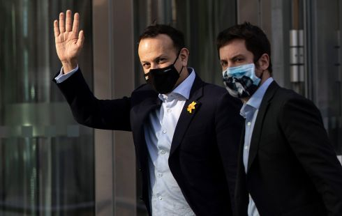 COVID-19: Tánaiste Leo Varadkar and Eoghan Murphy TD leave the Convention Centre Dublin. Mr Varadkar told the Dáil that Covid-19 is now 'more deadly'. Photograph: Brian Lawless/PA Wire