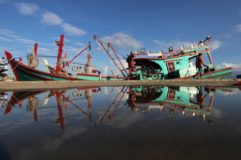 ASIA: A traditional boat is docked at a fishing port in Banda Aceh, Indonesia. Photograph: Hotli Simanjuntak/EPA