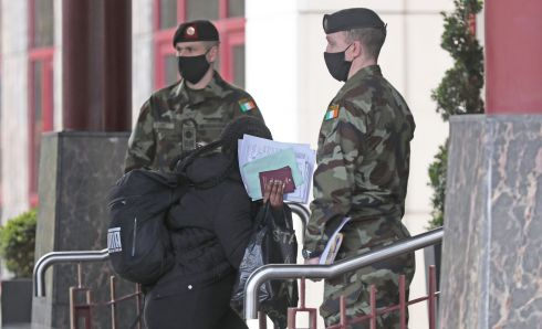Passengers arrive by bus from Dublin Airport at the Crowne Plaza hotel in Santry, Co Dublin. People arriving into the State from 33 'high-risk' countries are required to quarantine in a hotel for 12 days as part of Ireland's Covid-19 response. Photograph: Nick Bradshaw/The Irish Times