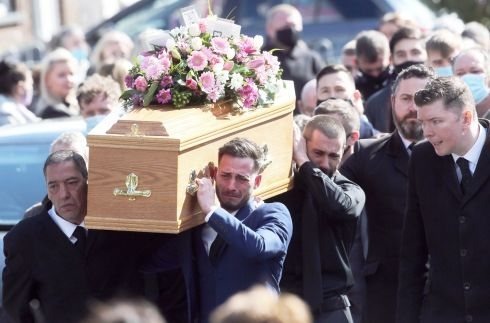 Mourners carry the coffin of Stacey Knell during her funeral in Belfast. The 30-year-old woman was murdered in Newtownabbey, Co Antrim, last Friday. Photograph: Stephen Davison