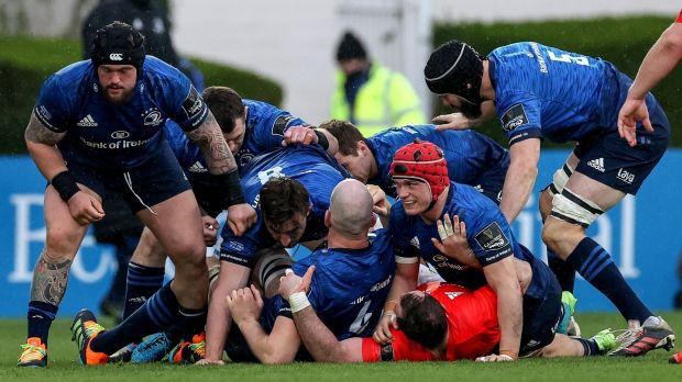 Jack Conan emerges after scoring the only try of the match against Munster. Photograph: Billy Stickland/Inpho
