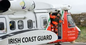 Seven fishermen have been airlifted to safety this evening by the Irish Coast Guard after their stricken trawler began taking in water in heavy seas off West Cork. File photograph: Dara Mac Dónaill