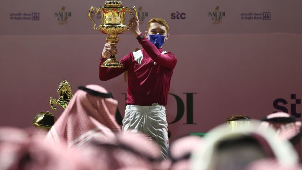 Winning Jockey David Egan celebrates after winning the Saudi Cup 2021 at King Abdulaziz Racecourse on Mishriff. Photograph: Francois Nel/Getty Images