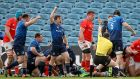 Luke McGrath celebrates after Jack Conan's try against Munster. Photograph: James Crombie/Inpho