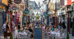 Pedestrianised Princes Street in Cork: The outdoor dining enhancement scheme will be run by Fáilte Ireland and local authorities around the country. Photograph:  Clare Keogh