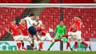 England's Harry Maguire  scores their winning  goal in the World Cup qualifier against Poland at Wembley. Photograph: Catherine Ivill/PA Wire