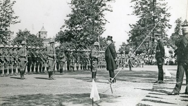 November 1909: Parade for the presentation of long-service medals to Natal Police by Sir Matthew Nathan, who went on to become British under secretary of state in Dublin. Photograph: Natal Witness Archives/Gallo Images/Getty Images