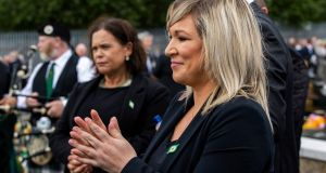 Sinn Féin leader Mary Lou McDonald (left) and Deputy First Minister Michelle O'Neill during the funeral of  former leading IRA figure Bobby Storey at the Republican plot at Milltown Cemetery in west Belfast. Photograph:  Liam McBurney/PA Wire.