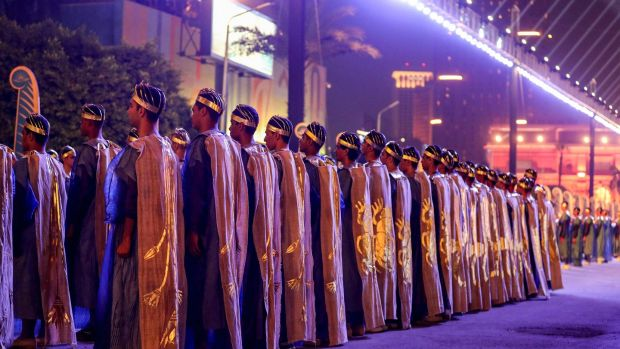 Performers in ancient Egyptian garb at the start of the parade. Photograph: Getty