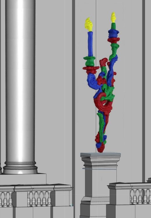 An illustration of the sculpture by Alan Phelan called RGB Sconce planned for the granite plinth on Dame Street, Dublin.