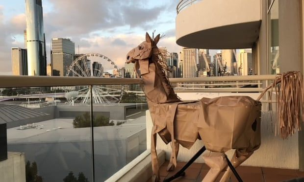 Russell, David Marriott's paper horse, taking in the Brisbane view. Photograph: David Marriott