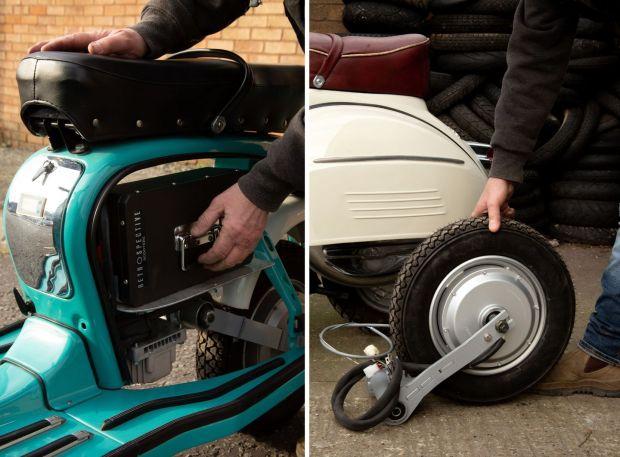 Sostituzione della batteria sullo scooter classico e (destro) motore elettrico e forcellone.  Foto: Sophie Stafford / New York Times