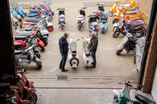 Retrospective Scooters is in London's East End, in Walthamstow. Photograph: Sophie Stafford/New York Times