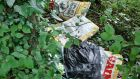 Litter found during a clean-up by members of St Coca's Athletic Club in Kilcock, Co Kildare.