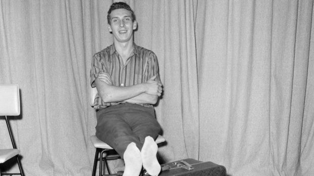 Stiff and limping, home-sick Welsh man Brian Robson (19), who tried to send himself back to Cardiff from Australia arrived at London Airport stiff and limping after his 96 hours in a crate. He had been given a seat in a Pan American jet airliner from Los Angeles, May 18th, 1965. File photograph: Tom King/Mirrorpix/Getty