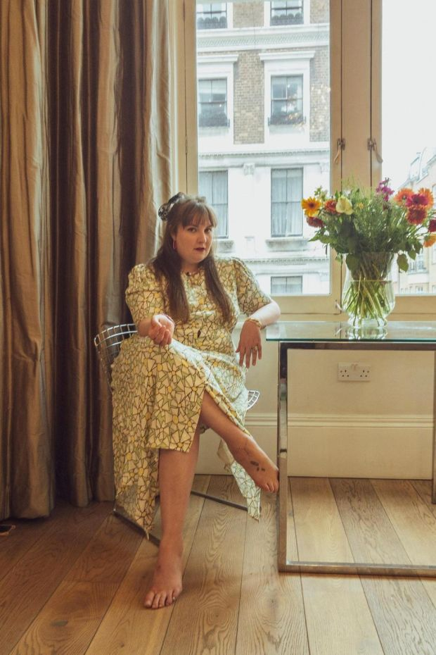 Lena Dunham, wearing one of her designs from a new collaboration with 11 Honoré. Photograph: Devin Oktar Yalkin/New York Times