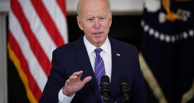 US president Joe Biden speaks about a March jobs report, in the White House in Washington, DC, last week. Photograph: Mandel Ngan/AFP via Getty Images