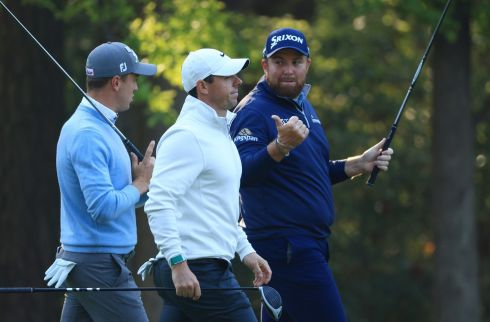 DRIVING LESSON: Justin Thomas (left) of the US, Rory McIlroy of Northern Ireland and Shane Lowry of Ireland sport golf drivers on the 11th hole during a practice round prior to the Masters at Augusta National Golf Club, in Augusta, Georgia. Photograph: Mike Ehrmann/Getty